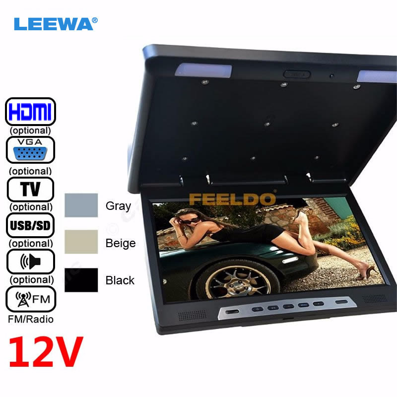 LEEWA 12V 22 22inch HD Roof Mounted Flip Down Touch-button Car Bus LCD Monitor TV HDMI USB SD FM VGA Speaker Black,Grey,Beige ruffled button down blouse in black
