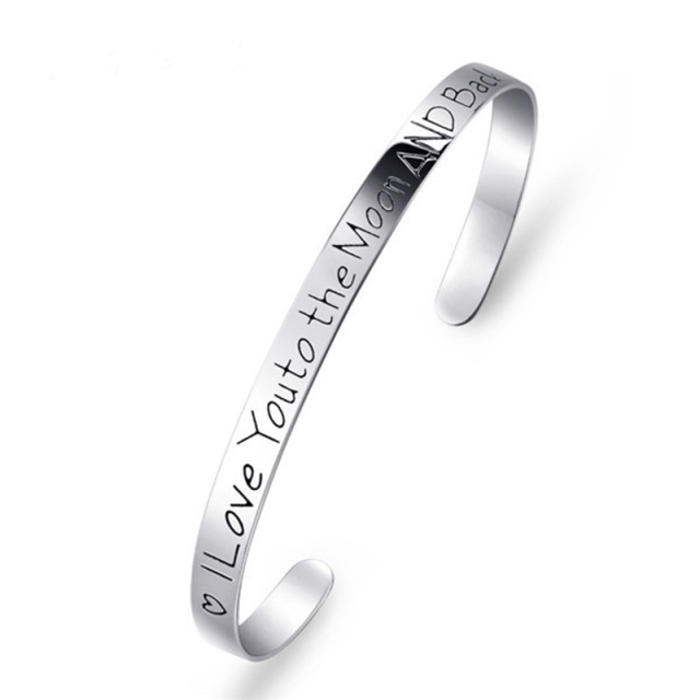 I Love You To The Moon And Back 925 Silver Adjustable Cuff Bracelet Bangle