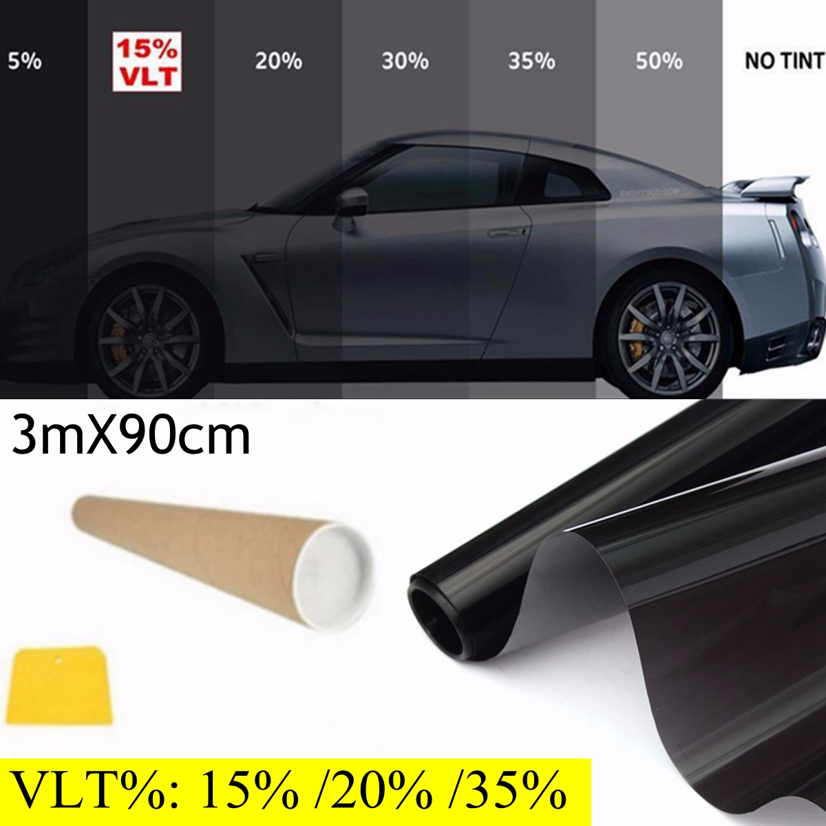 300x90 cm 36''x10 'FT 15% VLT noir fenêtre teinte Film rouleau ombre voiture bureau maison verre
