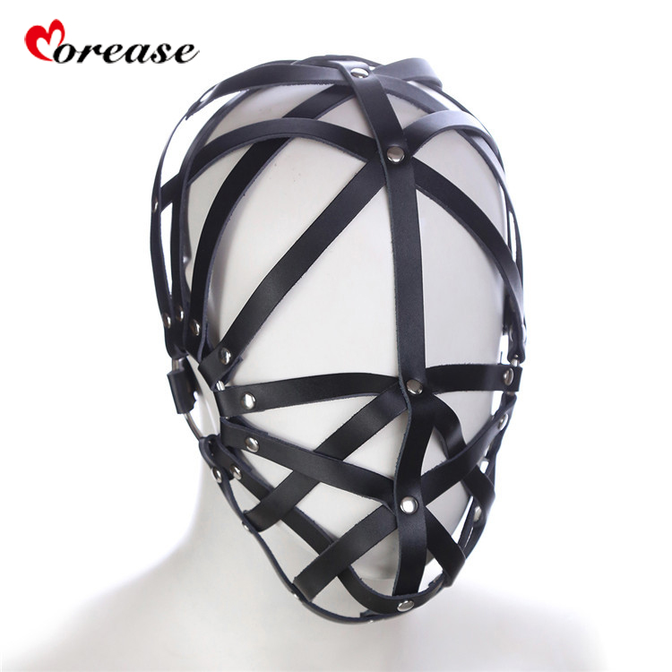 Morease Mask Leather Head Harness Bondage Adult Game Slave Role Play Fetish Restrict BDSM Hool Couples Erotic Men Women Sex Toy