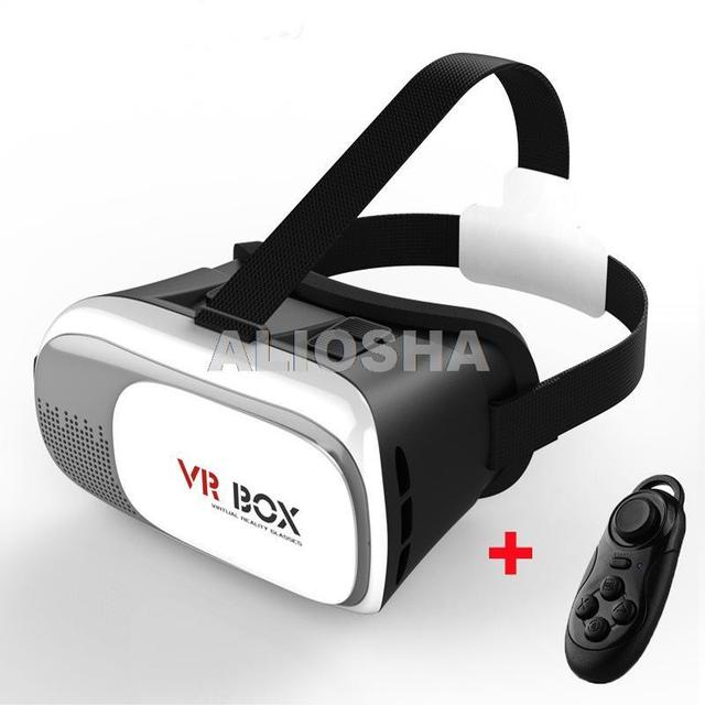 be9029efcede 2016 Google Headmount VR Case Wireless 3d Gaming Glasses With Bluetooth  Remote Controller Blue Film Video