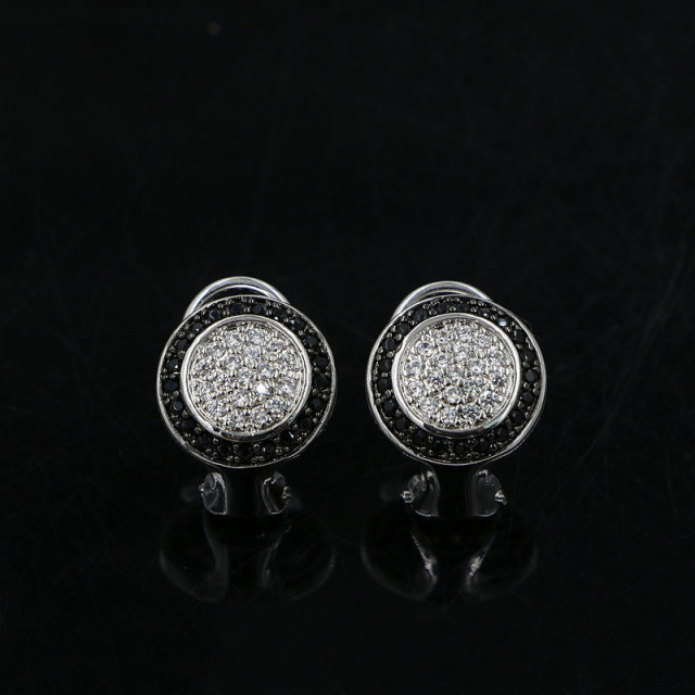 Retro 2 Colors Clear & Black Cubic Zirconia Round Clip-on Earrings Austrian Crystal Jewelry for Women