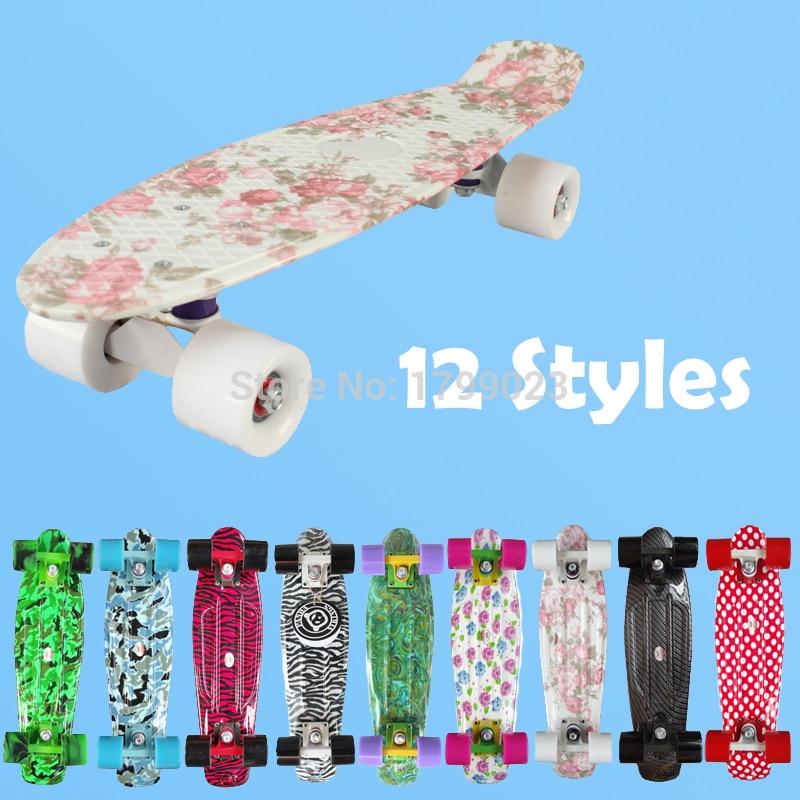 """Prix pour 2016 Nouvelle Imprimer Peny Conseil Complete Skateboard Rétro Cruiser Mini Floral Longboard Skate Poissons Long skate Board Conseil roue 22"""""""