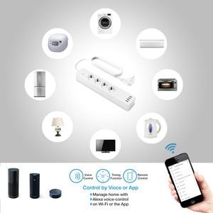 Умная лента питания Wi-Fi, 4 розетки европейского стандарта, разъем с 4 usb-портом для зарядки, синхронизация с приложением, Голосовое управление, работа с Alexa Google Home Assistant