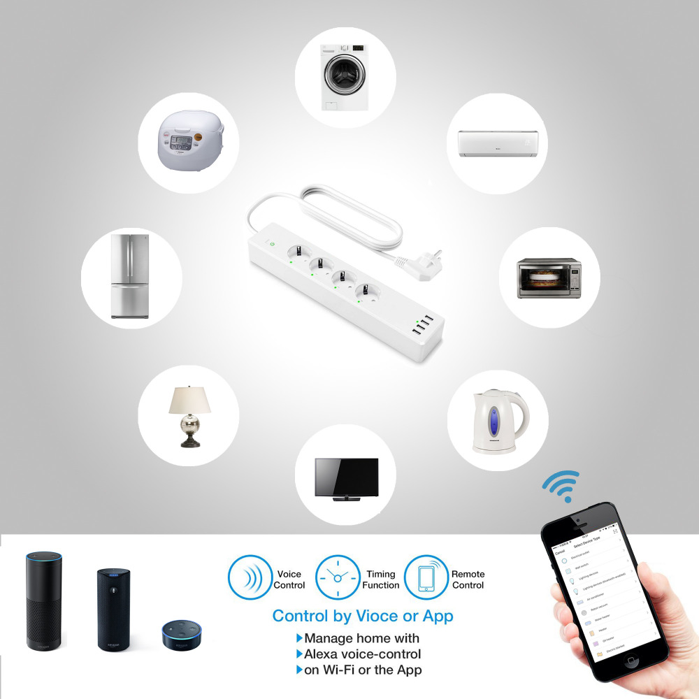 Image 5 - Wifi Smart Power Strip 4 EU Outlets Plug with 4 USBCharging Port Timing App Voice Control Work with Alexa Google Home Assistant-in Smart Power Socket Plug from Consumer Electronics