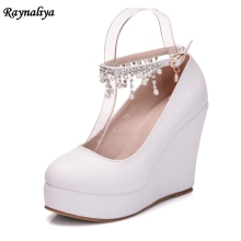 Handmade Women Pumps Extrem Sexy Wedges High Heels Female Wedding Shoes White Ladies Ankle Strap XY-A0074