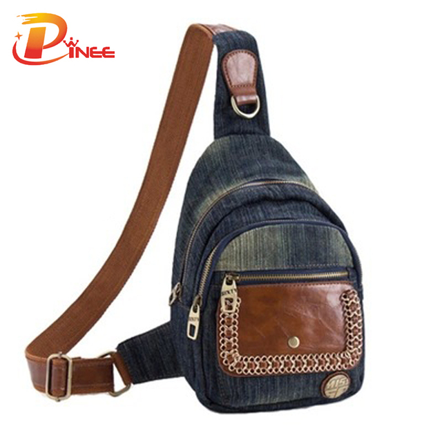 Famous Brand Fashion Women Bags Cross Body Chest Bags Casual Waist Packs Demin Business Bags