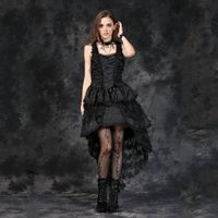 Darkinlove Women Gothic Sexy Dress Black Victorian Retro Steampunk Dress Evening Party Lace and Ruffles Sexy Strape Dress