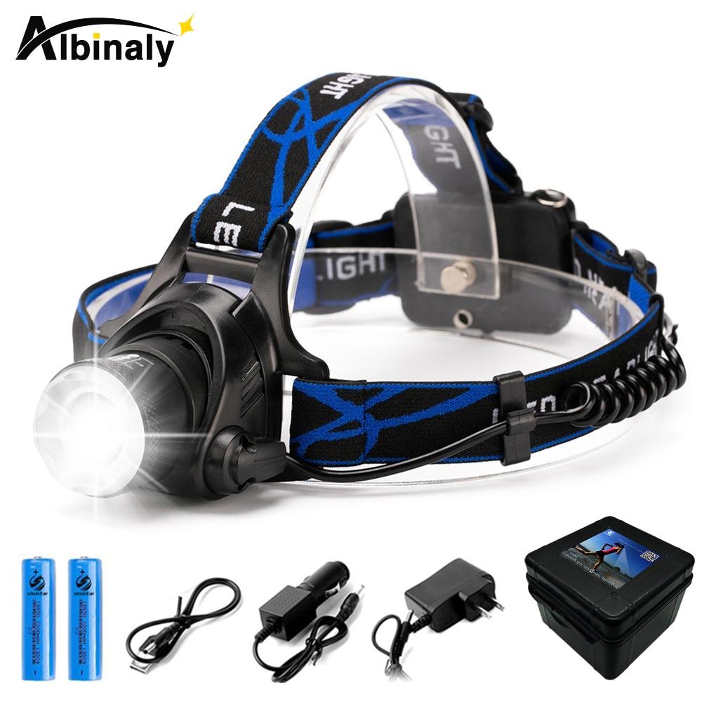 Phare LED ultra lumineuse CREE XML-T6/L2 8000 lumens phare Zoomable 4 modes d'éclairage utilisation de la lumière de pêche batterie 2x18650