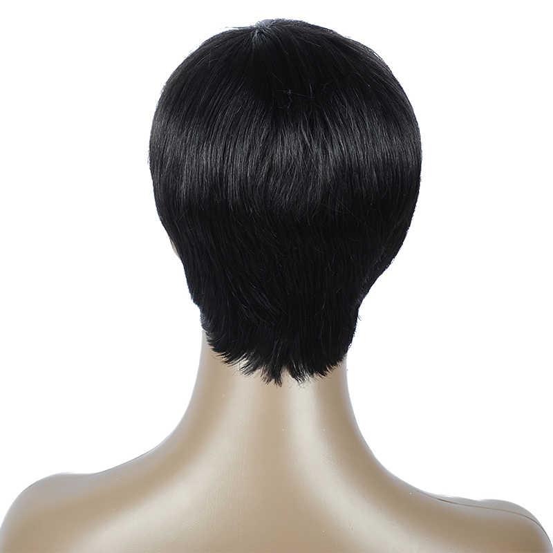 Стильный мне прямой парик бразильские волосы remy короткий Боб предварительно сорвал Детские волосы человеческие волосы парики для черных женщин
