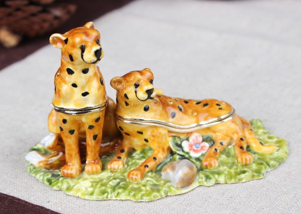 купить Tiger Animal Collectible Statue Figurine Pewter Crystal Cute Tiger Jewely Trinket Box по цене 2447.91 рублей