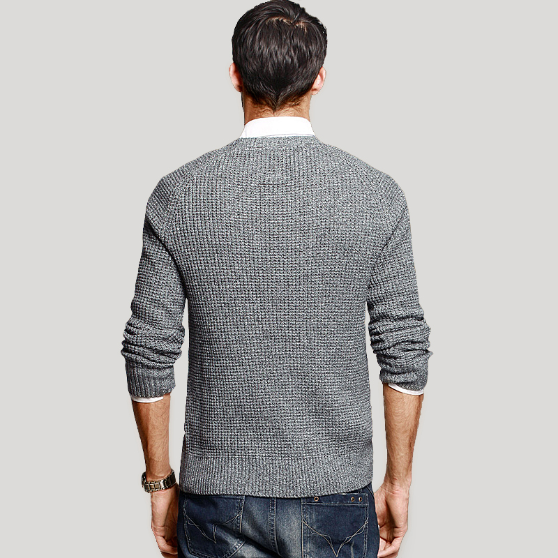 KUEGOU Herbst Herren Pullover 100% Baumwolle Grau Farbe Gestrickt - Herrenbekleidung - Foto 3
