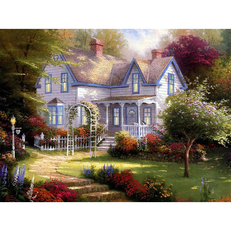 Frameless Garden Villa DIY Painting By Numbers Kit Paint On Canvas Calligraphy For Home Decor
