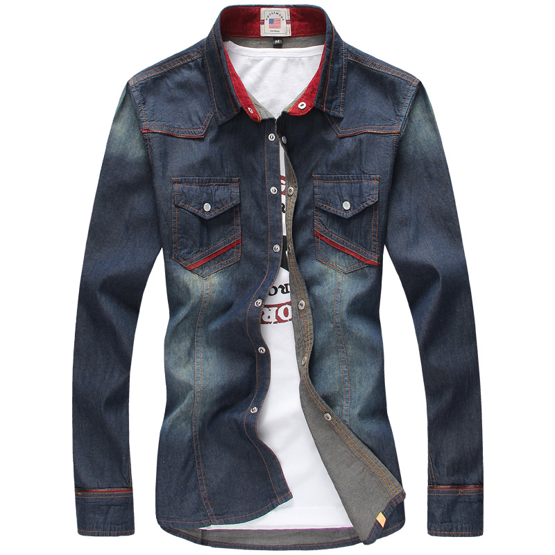 Men's Cotton Casual Long-sleeve Slim Denim Shirts Size M-3XL