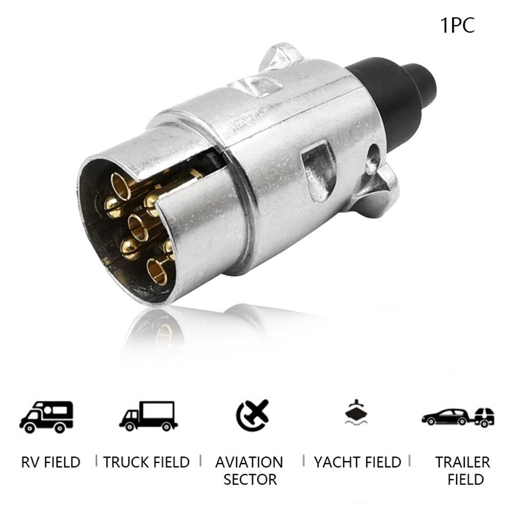 Aluminum Alloy 12V Automobile Durable Connector European Standard Trailer Socket Protector Car 7 Pin Accessories Plugs Towbar