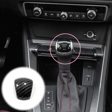 For Audi Q3 2019 2020 ABS Matte/Carbon fibre Car gear shift lever knob handle cover Cover Trim Car Styling Accessories 1pcs for audi q3 2019 2020 abs matte carbon fibre car front column sound decoration cover trim car styling accessories 2pcs