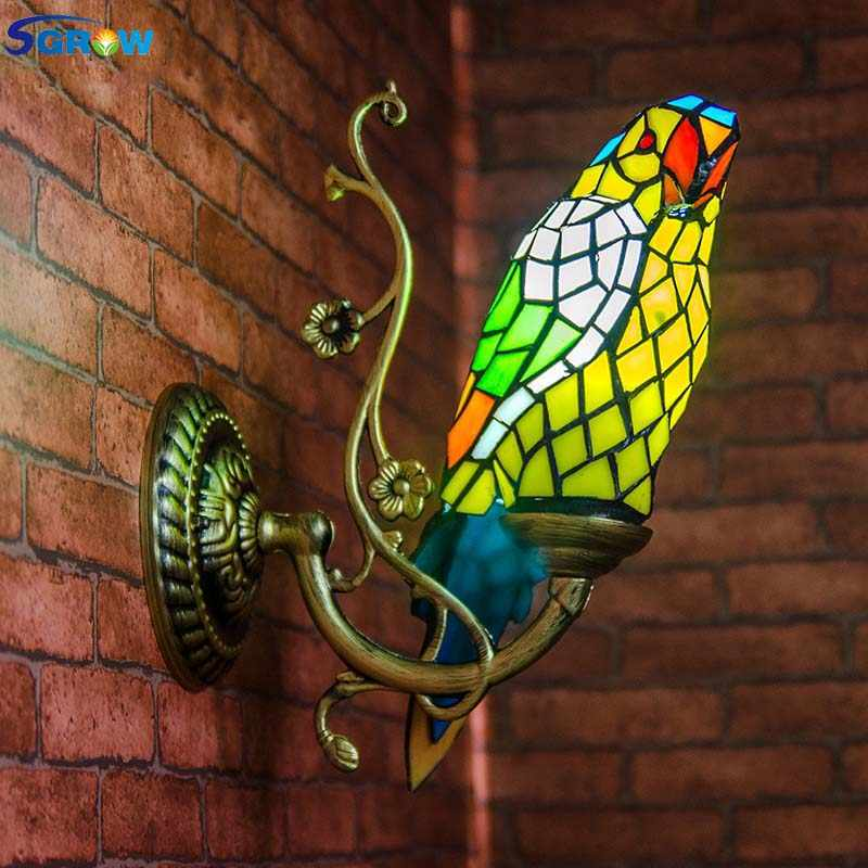 SGROW Tiffany Hand-made Parrot Wall Lamp for Bedroom Corridor Aisle Lampara Indoor Lighting Fixture Glass Lampshade Birds Lights