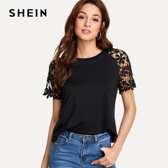 d469397556052 SHEIN Floral Lace Raglan Sleeve T-shirt 2018 Summer Short Sleeve Round Neck  Elegant Tee Women Black Contrast Lace Casual Top