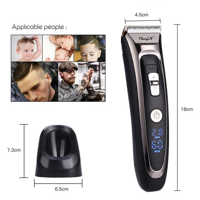 Profissional aparador de cabelo digital recarregável elétrica máquina cortar cabelo sem fio dos homens lâmina cerâmica ajustável RFC-688B 49 2