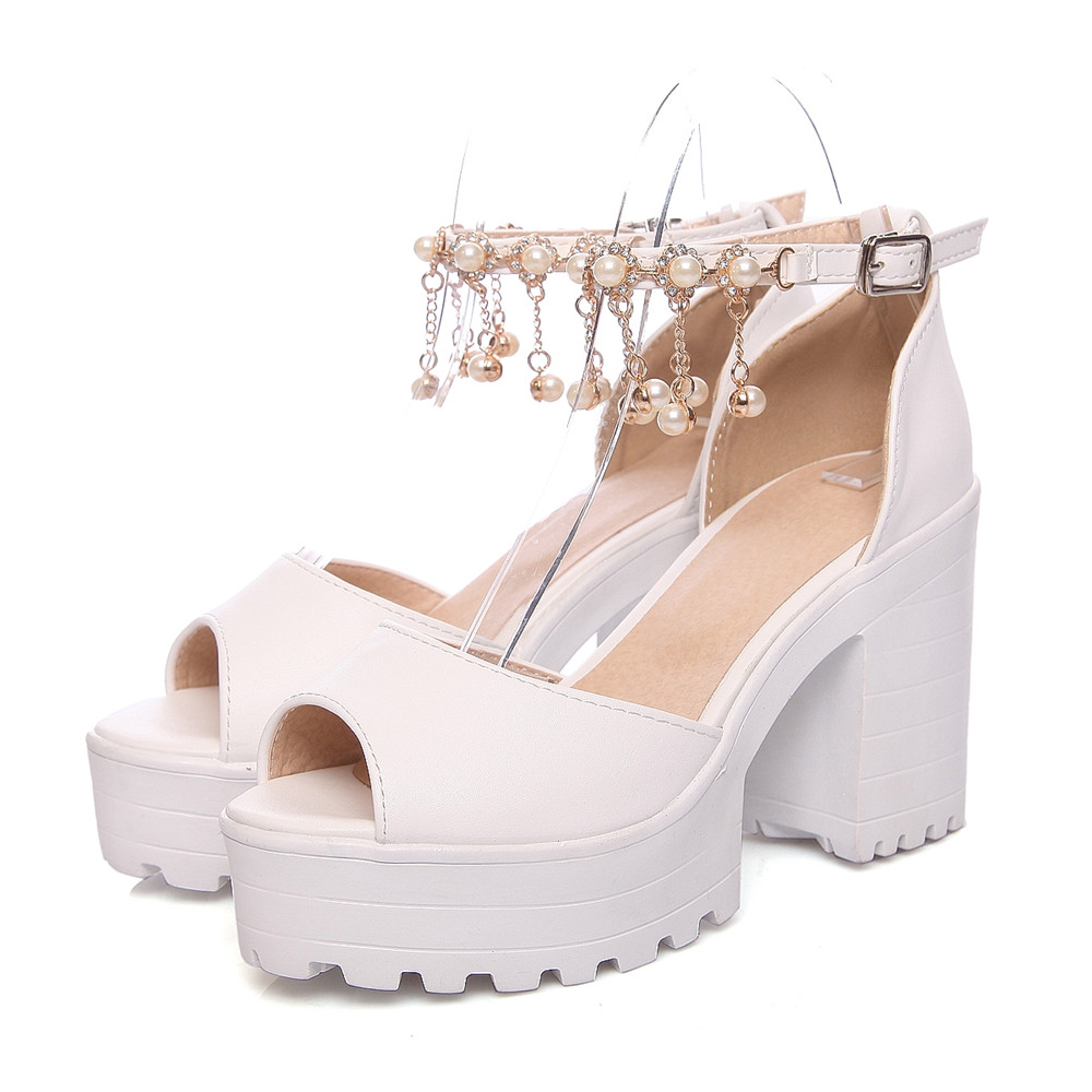 fc3b2d66aaa ASUMER white pink light blue fashion summer new 2018 high heels shoes peep  toe buckle platform square heel casual women sandals-in High Heels from  Shoes on ...