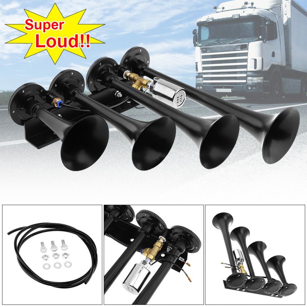 12V 24V 185dB Super Loud Four Trumpet Chrome Auto Car Air Horn Set for Car Vehicle