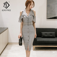 2018 Spring And Summer New Arrival Women Dresses Casual Patchwork Shrot Butterfly Sleeve Sexy V Collar Knee Length Hots D85006LD