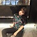 2017 New Chic Floral Camisetas de manga Corta de Terciopelo de Terciopelo camiseta nueva Mujer del O cuello de Terciopelo Vintage T-Shirt Tops poleras de mujer