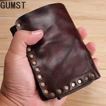 Брендовый мужской кошелек gumst короткий из натуральной кожи