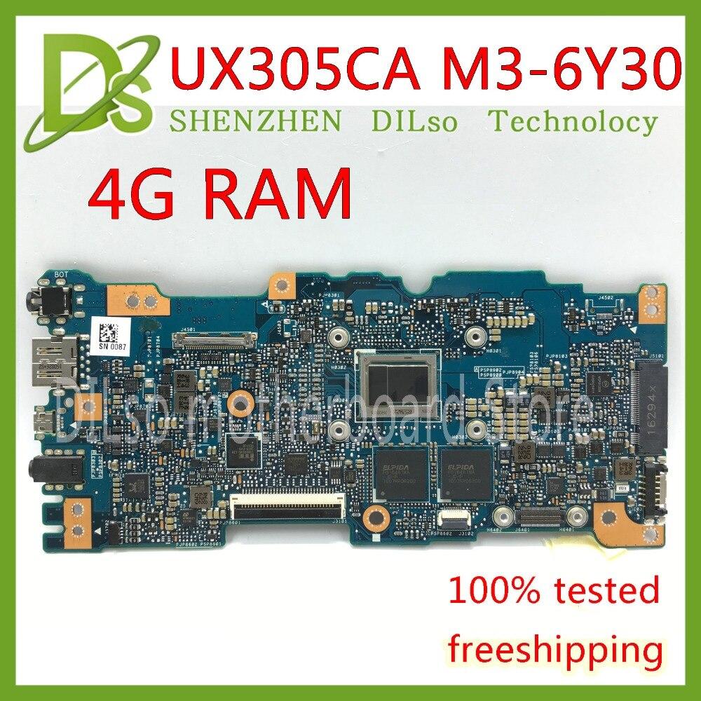 KEFU UX305CA Pour ASUS UX305CA UX305C U305C carte mère Intégré M3-6Y30 cpu 4g momery à bord carte mère rev2.0 de travail D'essai 100%