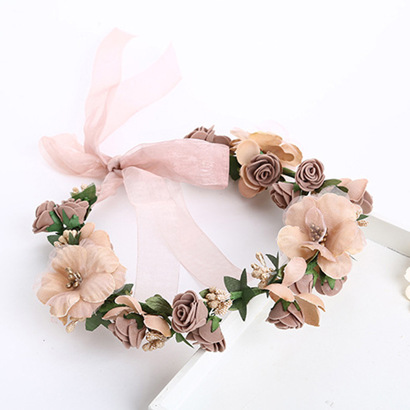 Women Wedding Flower Hair Garland Crown Headband Floral Wreath Hairband Plastic Cloth 50cmx6cm
