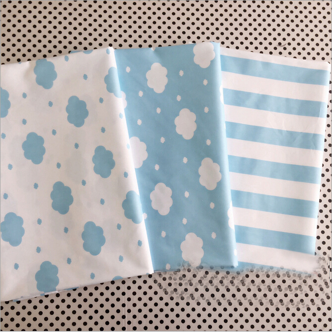 Blue Clouds Stripes Printing Syunss Cotton Fabric for Diy Handmade Pactwrok Sewing Tissue Kids Bedding Home Textile Doll Made