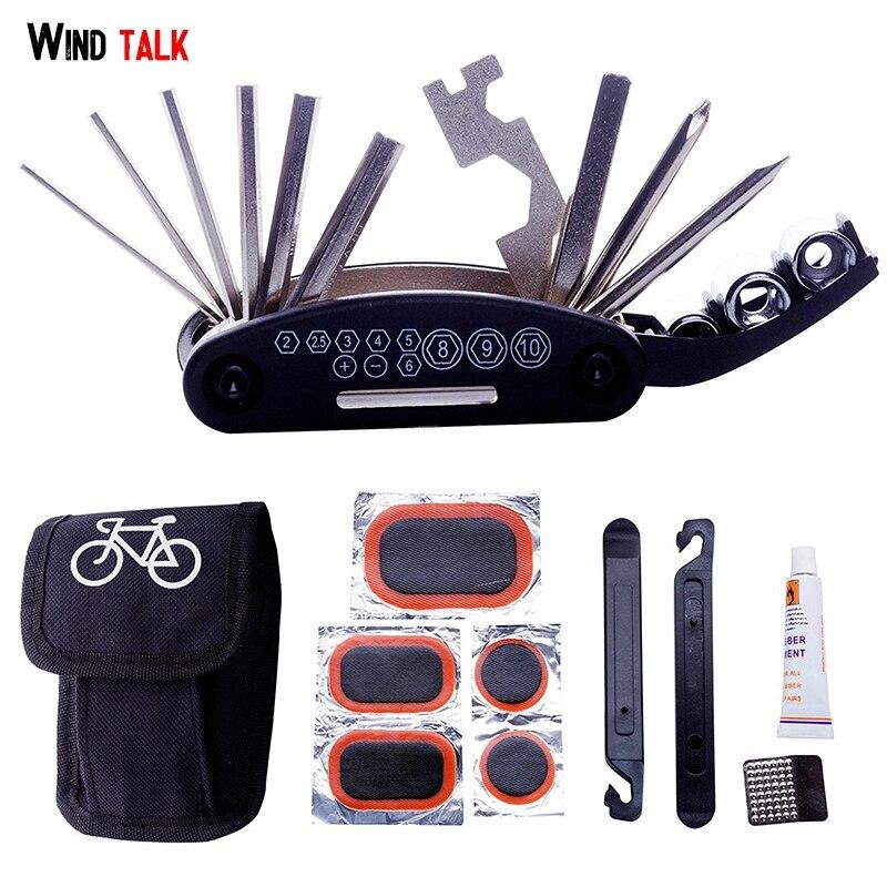 Wind Talk Mtb Multi Bicycle Tire Repair Tool Set Protable Flat Spoke Wrench Tire Lever Patch Bike Tool Kit