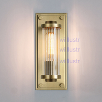 Willlustr vintage copper color wall sconce modern lighting porch staircase hotel vanity light ribbed crystal glass shade lamp