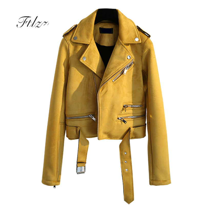 2019 New Women Punk Style Jacket Spring Autumn Slim Long Sleeved Zipper Biker   Suede   Coats Ladies Yellow Moto   Leather   Jackets