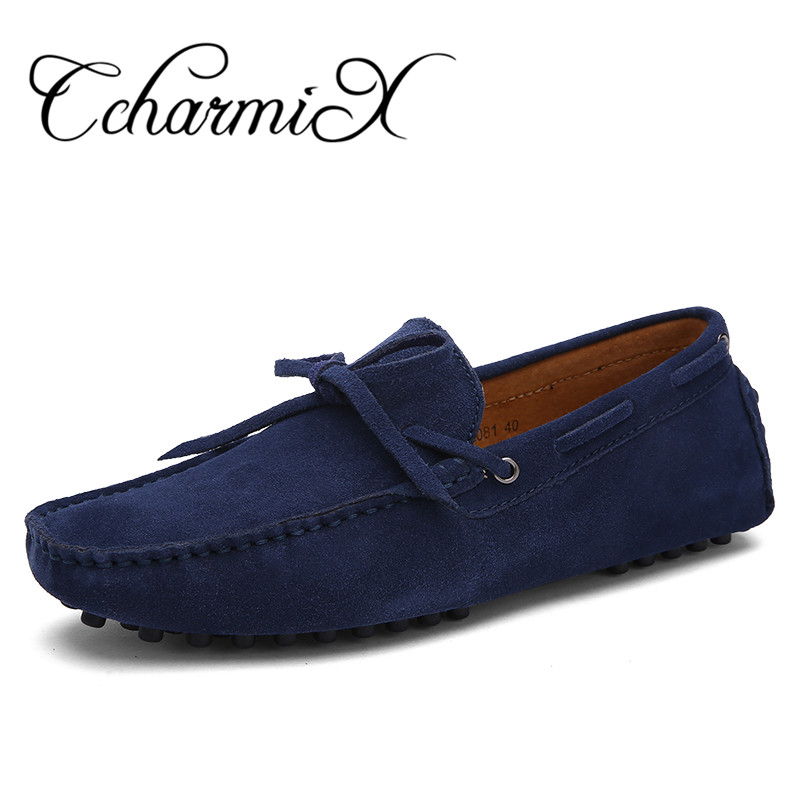 CcharmiX Brand Spring Men Driving Shoe Real Suede Leather Boat Shoes Breathable Male Casual Flats Slip On Moccasins Blue Loafers