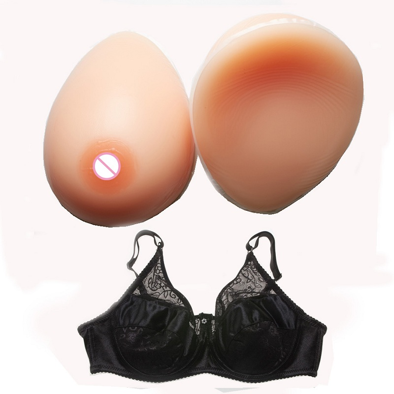 free shipping artificial silicone breast forms for cross dressing deep cleavage fake bra male transgender 3600g pair beige color 800g/pair Silicone Breast Forms Artificial Fake Breast For Man Transvestite Crossdress With Special Bra
