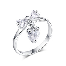 CZ Jewelry Fashion white crystal Rings for Women wedding Engagement Jewelry 925sterliRing Paved Silver Plated For Birthday gift