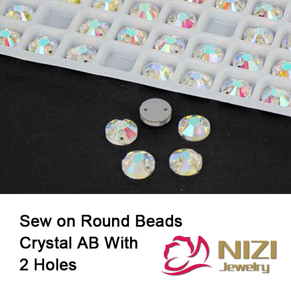 Sew On Beads 8mm 10mm 12mm 14mm 16mm 18mm Flatback Round Sewing DIY Beads With Holes For Garment High Shine Crystal AB Beads
