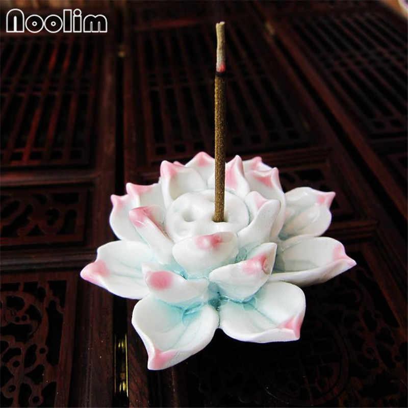 Handmade LotusธูปStickผู้ถือเซรามิคไม้จันทน์Home Teahouseตกแต่งสำนักงานAromatherapy Censer