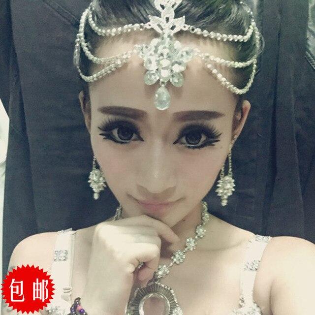 Indian Wedding Headdress: Crystal Head Chain Indian Head Jewelry Rhinestone