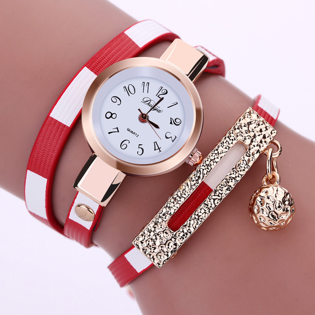 Women's Stylish Gold-Colored Wristwatch with Multilayered Leather Band
