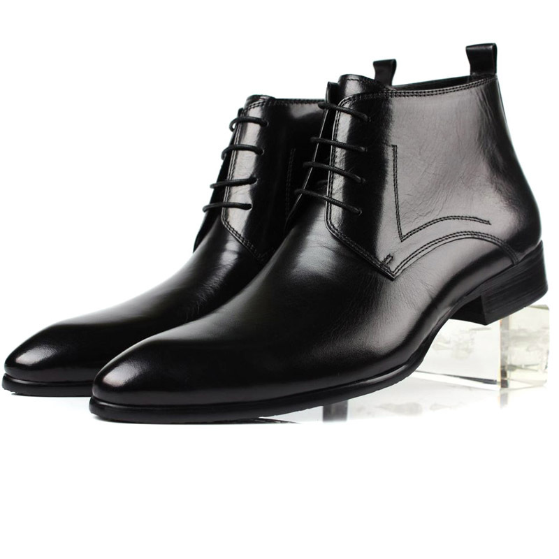 New Mens Dress Wedding Boots Genuine Leather Lace Up Party Office