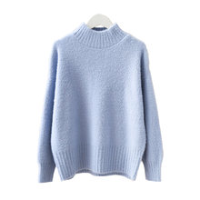 H.SA manteau femme hiver 2019 Winter Turtleneck Pull Sweater Jumpers Candy Color Blue Solid Pullovers Warm Knit Sweater korean(China)
