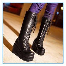 ใหม่โกธิคพังก์รองเท้าบู๊ทส์คอสเพลย์เข่าแพลตฟอร์มส้นสูงเซ็กซี่ซิปเวดจ์ในช่วงฤดูหนาวรองเท้าสูงเข่าP917