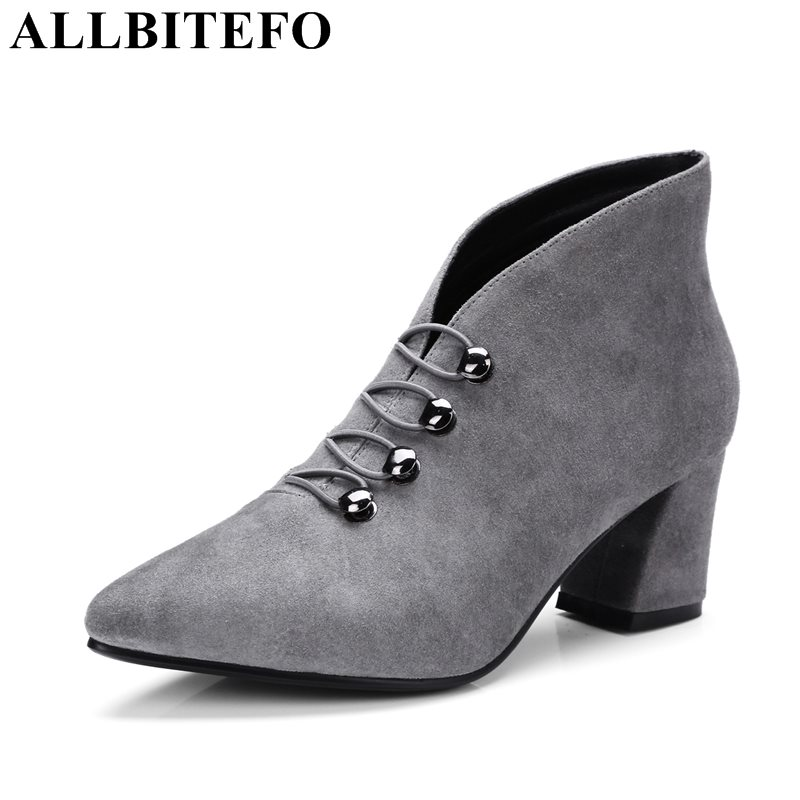 ALLBITEFO fashion retro Nubuck leather pointed toe thick heel women boots medium heel martin boots high quality girls boots allbitefo fashion retro genuine leather pointed toe thick heel women boots ruffles high heels party shoes girls boots size 33 43