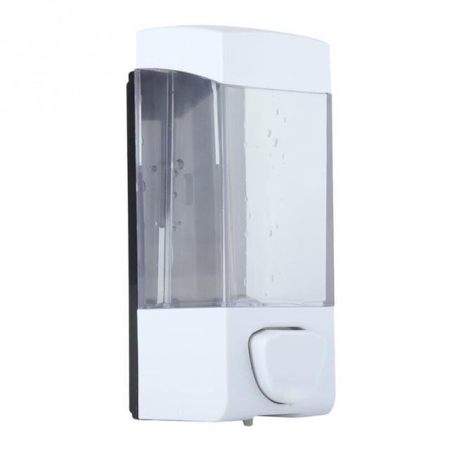 350ml Soap Lotion Dispenser Bathroom Manual Plastic Liquid Shampoo Box Holder Wall Mounted