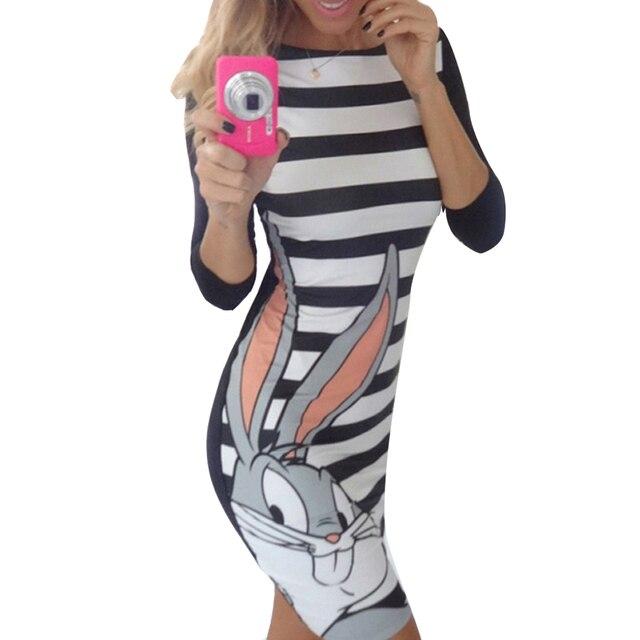 644120e7456 Coloré Vêtements Femmes rayé robe 2016 nouvelle mode lapin de dessin animé  d été robe