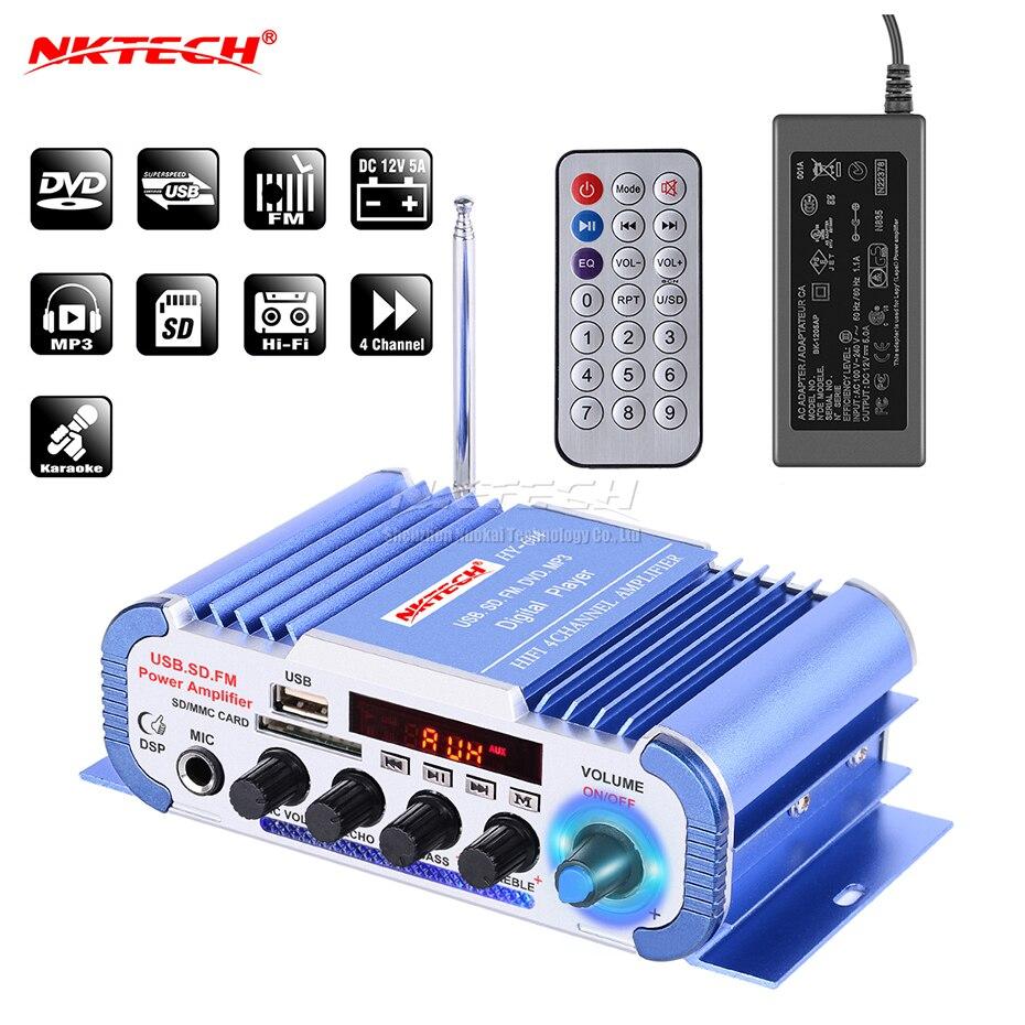 NKTECH HY-604 Voiture Audio Haute Puissance Numérique Amplificateur 4CH x 45 w Salut-fi Lecteur avec MICRO Karaoké Réverbération Soutien FM SD DVD MP3