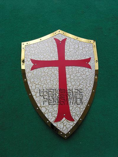 MEDIEVAL CRACK PATTERN RED CROSS CRUSADER ARMY IRON SHIELD 25.3
