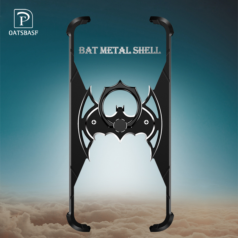 OATSBASF Bat Design Bumper Airbag Metal Case for iPhone X Case Personality Ring Holder Shell for iPhone 7 8 Plus Metal Cover